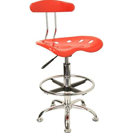 Flash Furniture Red & Chrome Drafting Stool Tractor SeatLF-215-RED-GG F-LF-215-RED-GG