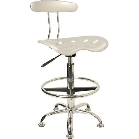 Flash Furniture Vibrant Silver & Chrome Drafting StoolLF-215-SILVER-GG F-LF-215-SILVER-GG