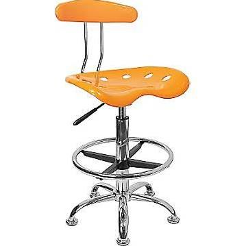 Flash Furniture Orange-Yellow & Chrome Drafting StoolLF-215-YELLOW-GG F-LF-215-YELLOW-GG
