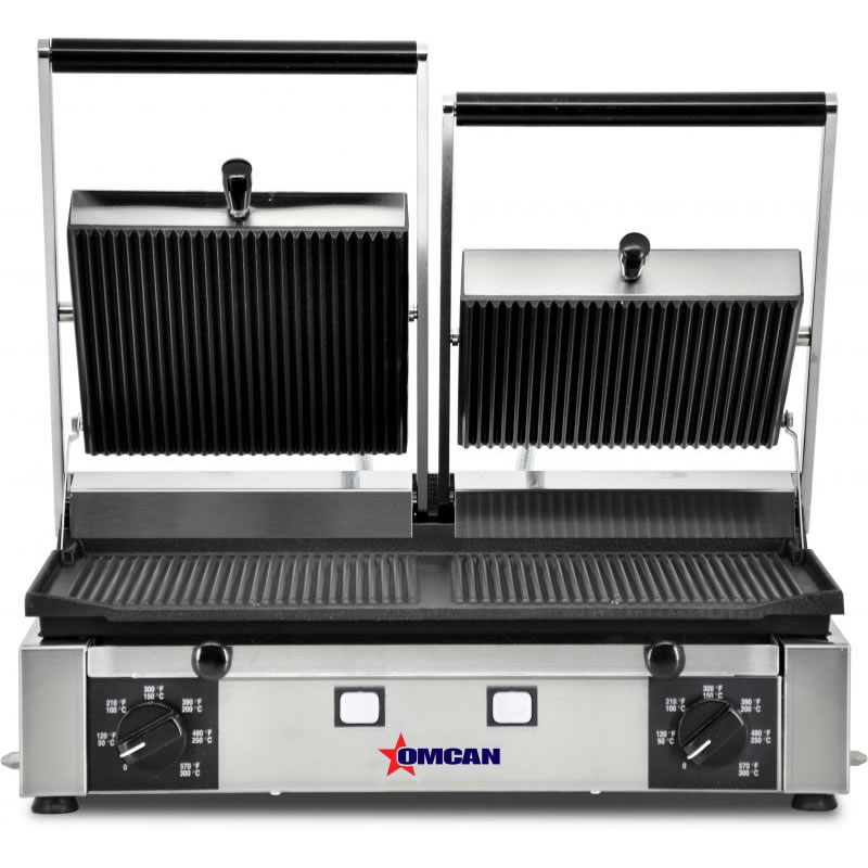 "Omcan (FMA) Sandwich Grill, double, 10"" x 19"" grill surface, independent 570°F thermostat control for each side, stainless steel body, 13 amps, 3.0 kw, ETL and ETL Sanitation FMA-11378"