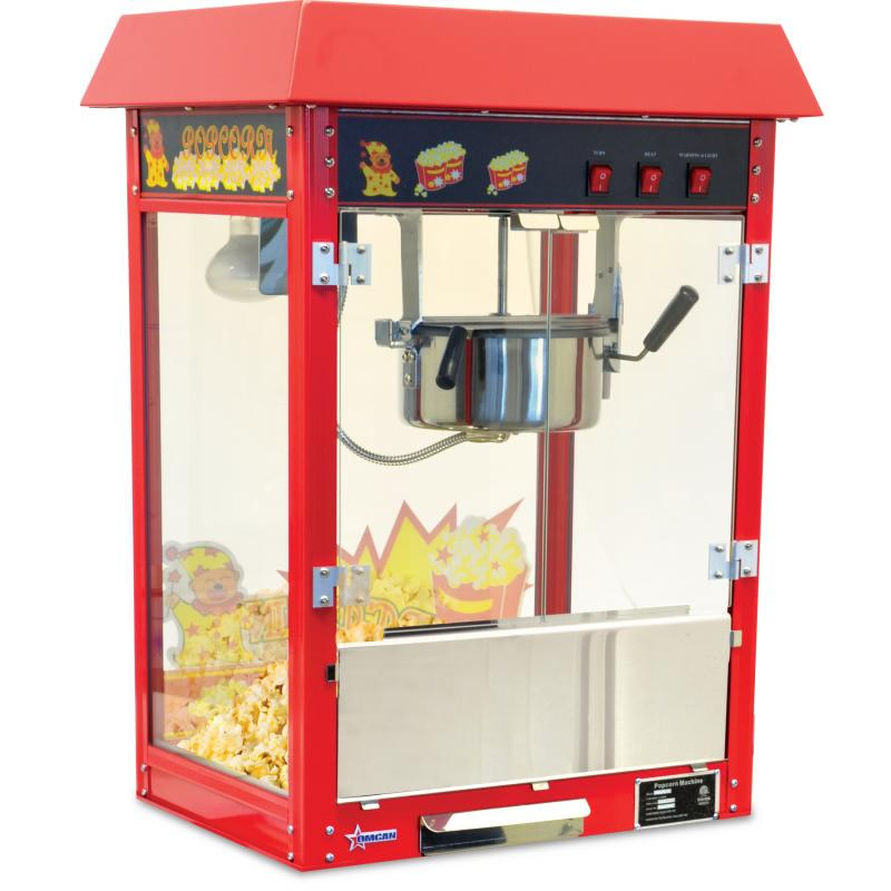 "Omcan (FMA) Popcorn Machine, 16.5"" x 22"" x 29"", 8 oz kettle volume, stainless steel & aluminum construction, 110V/60/1"
