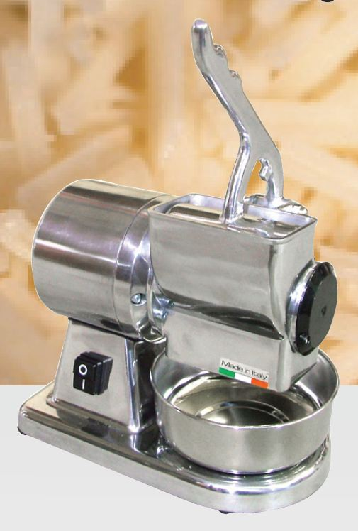 Omcan (FMA) Cheese Grater, electric, cast iron grater drum, stainless steel basin & hopper, 1/2 HP