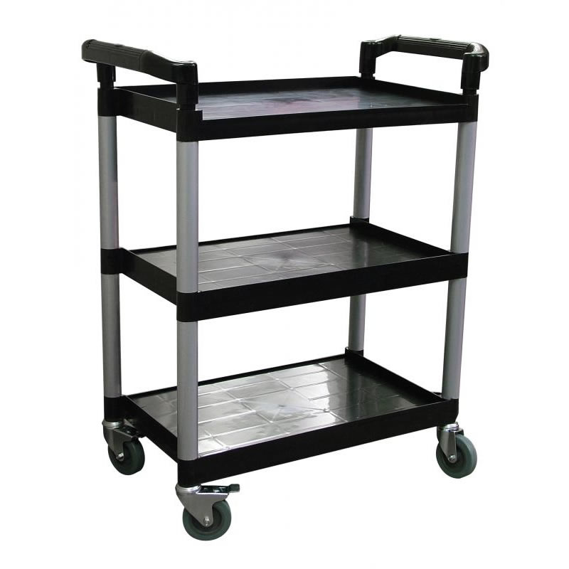 "Omcan (FMA) 'Bussing Cart, 3 shelf, 32-1/2"" x 16-1/4"" x 40"", 16"" x 24-3/4"" tray size, plastic, black FMA-24183"