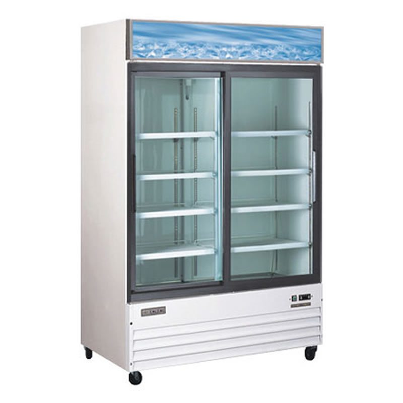Omcan (FMA) 'Refrigerator, reach-in display, two section, 44.75 cu. ft, 11.2 amps, 1/2 hp, CE, ETL, Energy Star