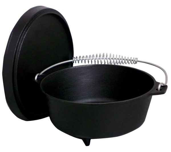 King Kooker 8 Qt. Seasoned Cast Iron Dutch Oven w/Feet and Coal Lid