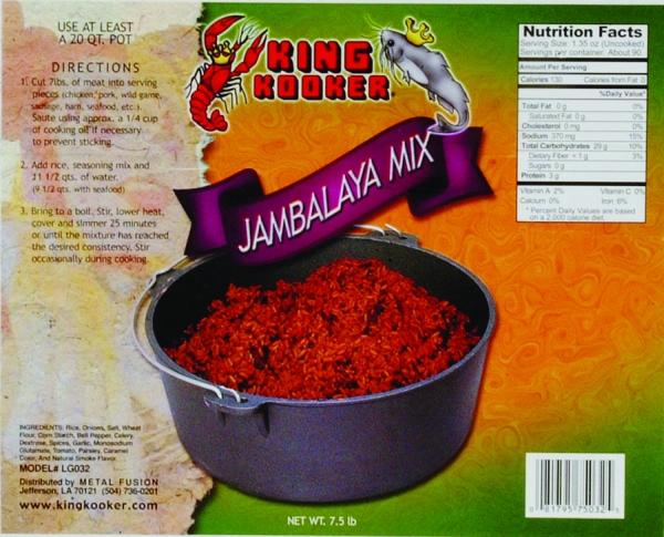 King Kooker Party Size Jambalaya, 7.5 Lb. Fits Perfectly In a King Kooker 20 Qt. Cast Iron Pot