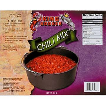 King Kooker Party Size Chili Mix, 2.5 Oz, Fits Perfectly In a King Kooker 20 Qt. Cast Iron Pot