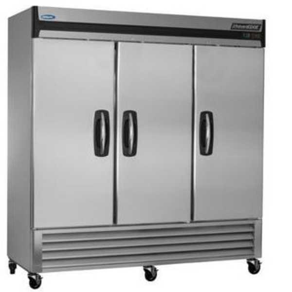 Nor-Lake AdvantEDGE™ Reach-In Freezer, Three-Section, bottom mount compressor, auto defrost, magnetic gaskets, (12) vinyl coated shelves, interior light, stainless steel interior and exterior, h