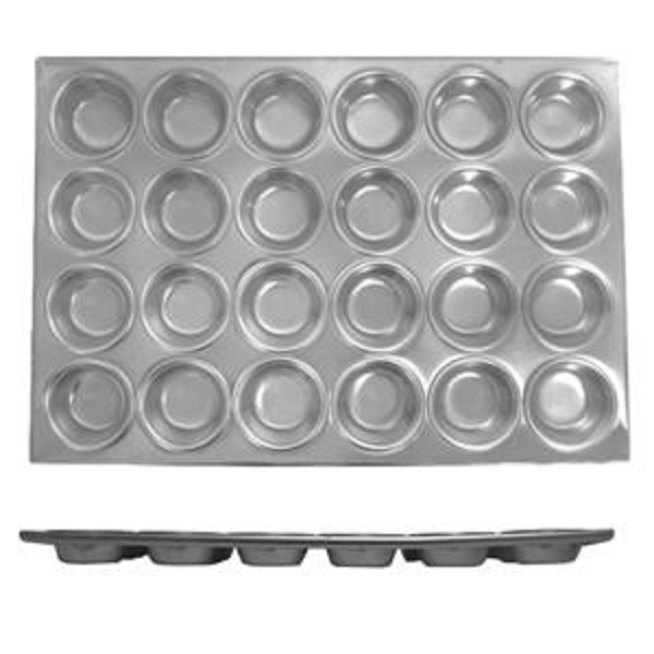 Thunder Group 24 Cup Muffin Pan, 3.5 Oz Each Cup THUN-ALKMP024