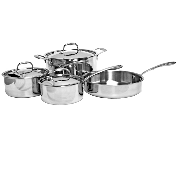 Thunder Group Tri-Ply Cookware, 7Pieces Set Sauce Pan W/ Lid, 1.5Qt Sauce Pan W/ Lid, 2.0Qt Stockpot W/ Lid, 6Qt Saute Pan W/O Lid, 2.5Qt