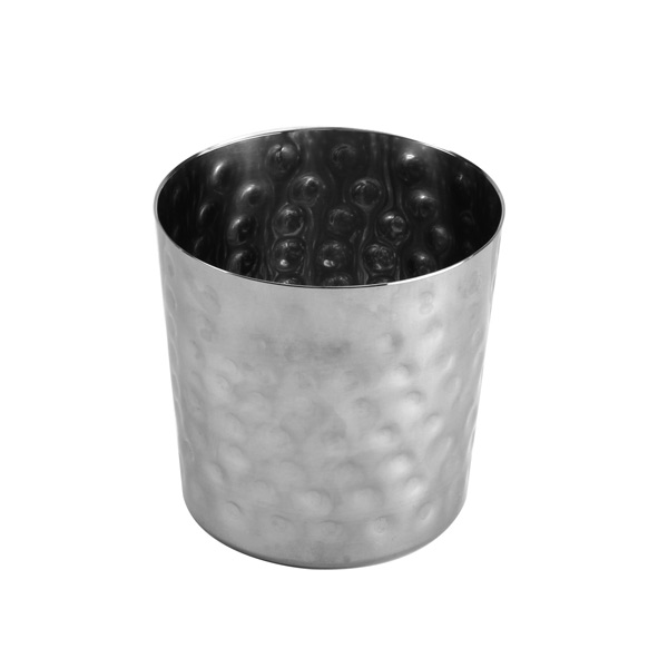 """Thunder Group 13 Oz, 3 3/8""""X 3 3/8"""" H, French Fry Cup, Stainless Steel, Hammered Finished THUN-SLFFC003"""