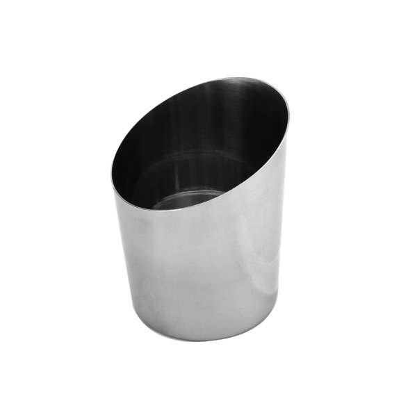 "Thunder Group 14 Oz, 3 5/8""X 4 1/2""H Angled French Fry Cup, Stainless Steel, Mirror Finished THUN-SLFFC005"
