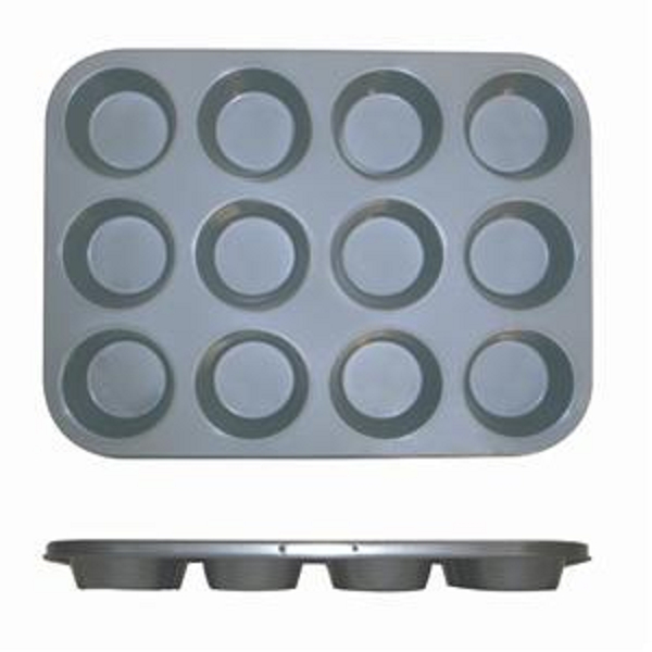 Thunder Group 12 Cup Muffin Pan - Non Stick (0.4M/M), 3.5 Oz Each Cup THUN-SLKMP012