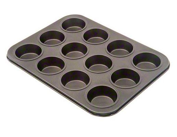Update International Muffin Pan 12 Cup, Non-Stick Blk UPD-MPNS-12