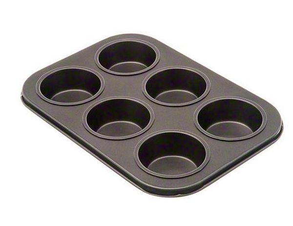 Update International Muffin Pan 6 Cup, Non-Stick Blk UPD-MPNS-6